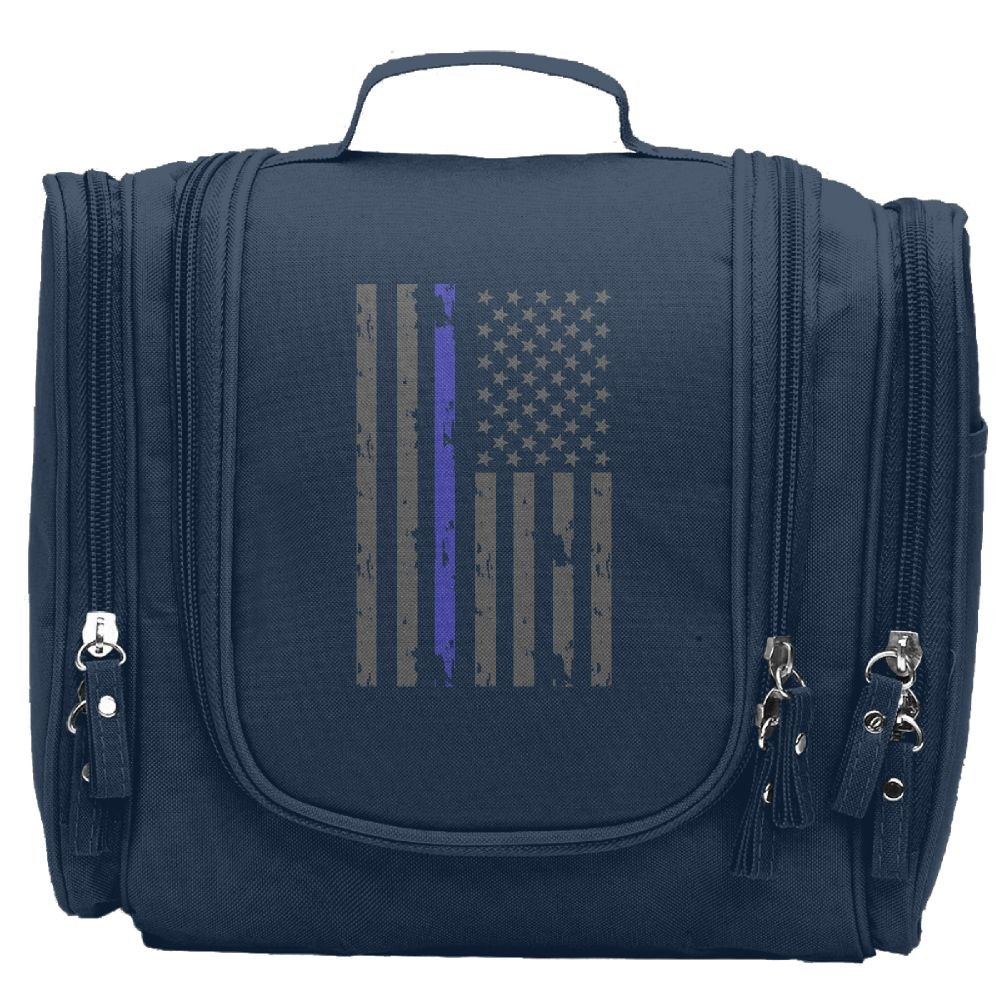 JCBaa Thin Blue Line Flag Makeup Bag/Cosmetic Bags Women's Portable Brushes Case Toiletry Bag Travel Kit Jewelry Organizer Multifunctional Pouch/Bags For Household,Business,Vacation