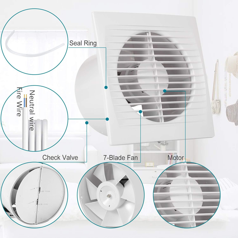 Wand-Ventilator f/ür K/üche//Badezimmer//Schlafzimmer//B/üro Inline-L/üfter Hon/&Guan /Ø150 mm Abluftventilator Ultra-leise mit Effiziente Bel/üftung C-150mm