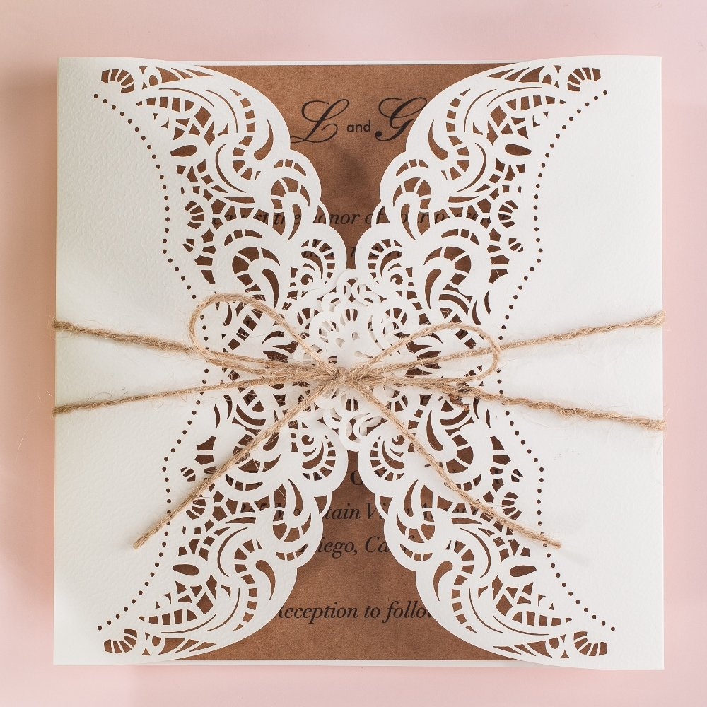 Wishmade 100x Laser Cut Invitations Cards Kit With Rustic Rope For Wedding Party Birthday Occasion AW7512 by Wishmade (Image #8)