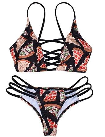 ea786a5513 Amazon.com: sholdnut Women Spaghetti Strap Bikini Set Padded Two Piece Print  Cut Out Bottom Swimsuits: Clothing