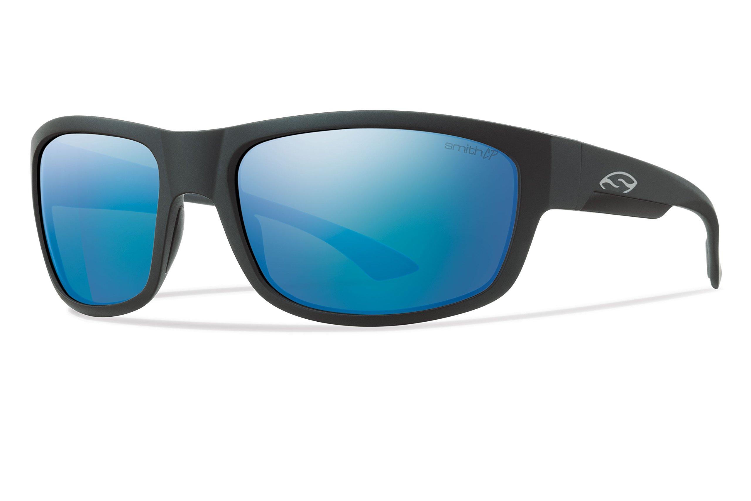 Smith Optics Dover Lifestyle Polarized Sunglasses, Matte Black/Chromapop Blue Mirror
