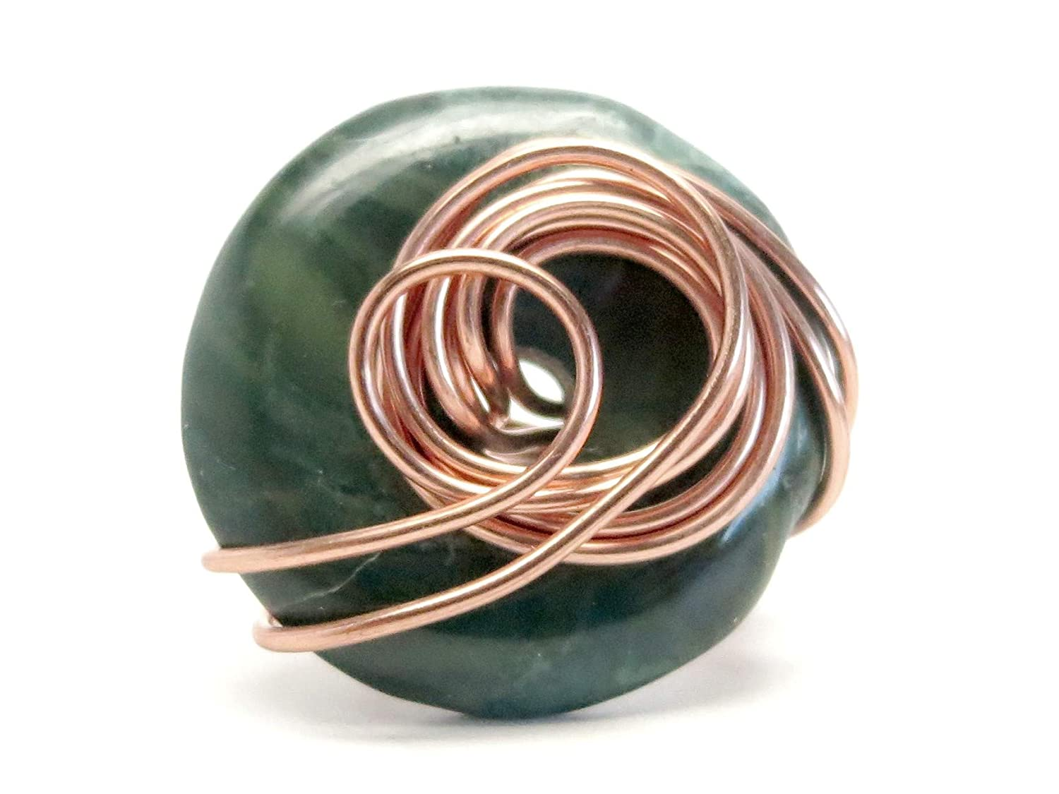 SatinCrystals Jasper Green Ring 6 Specialty One-of-Kind Copper Wire Wrapped Donut Handmade Grounding Stone S01