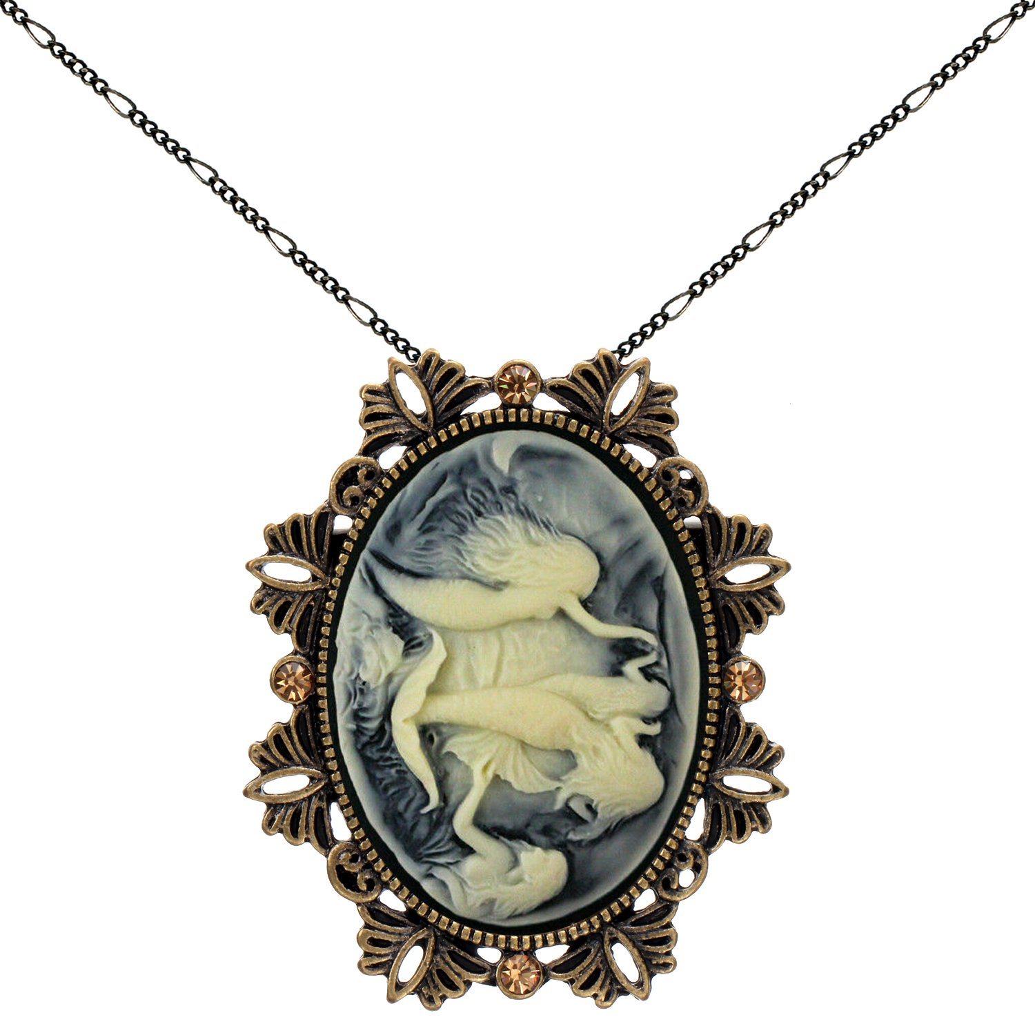 Mermaid Sister Brooch Necklace Two Way Functional Antique Brass Pendant 2pc Chain Pouch for Gift