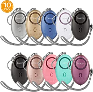 Personal Alarm for Women, 10 Pack 140DB Emergency Self-Defense Security Alarm Keychain with LED Light for Women Kids and Elders