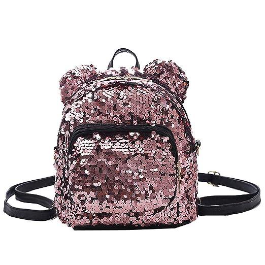 4b7af01de3 NRUTUP Fashion Lady Sequins School Backpack Satchel Girls Student Travel  Shoulder Bag(free size