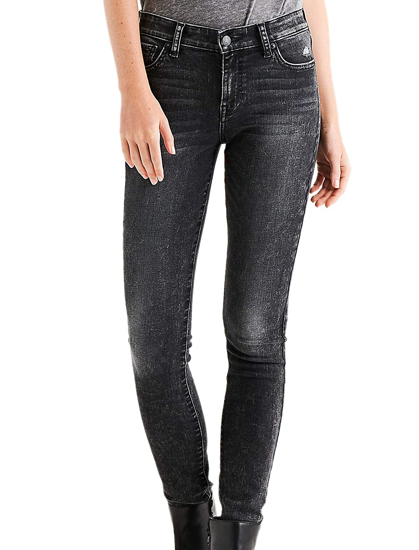 Lunky Brand Women's Ava Super Skinny Regular Mid Rise Jeans Olana Black Wash
