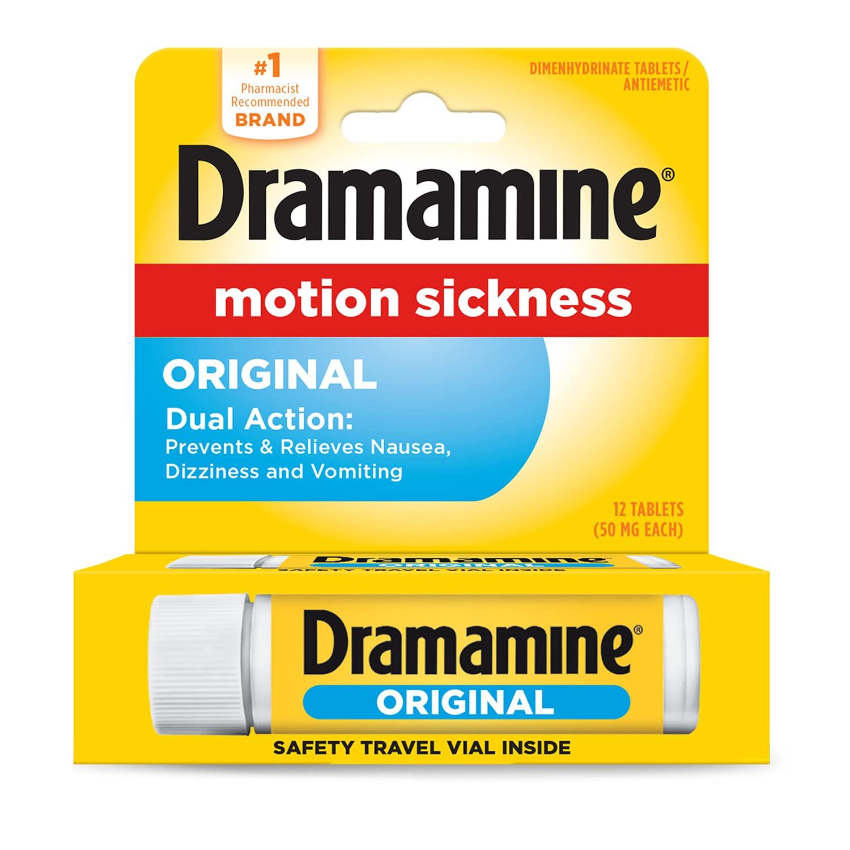 Dramamine Formula Motion Sickness Relief, Original, Pack of 1, 12 Count