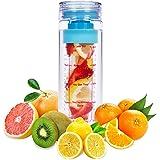 LA Organics Fruit Infuser Water Bottle 24 oz BPA Free Tritan Leak Proof Sport Water Bottle - FREE Fruit Infusion Recipe Ebook Gift Included