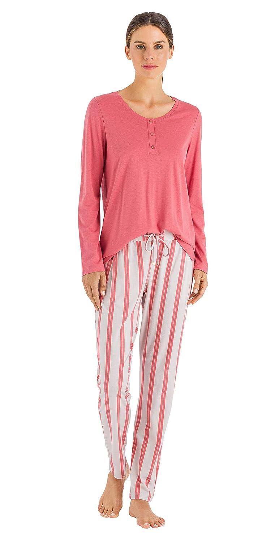 HANRO Womens Sleep and Lounge Long Sleeve Henley Shirt