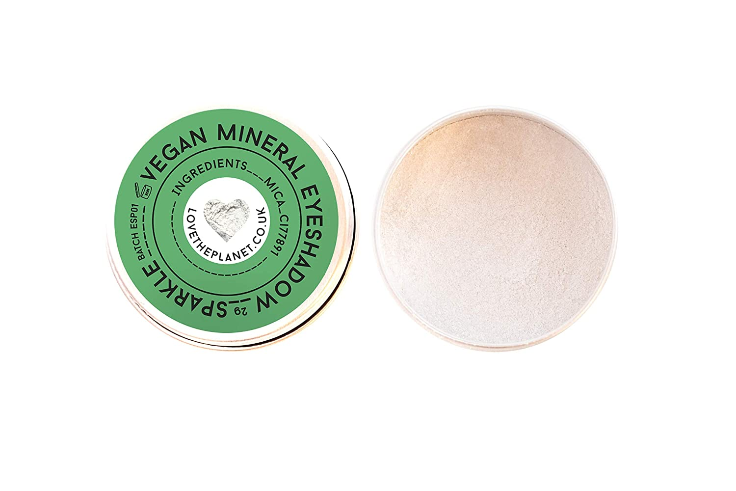 Love the Planet Vegan Mineral Eyeshadow Shade Sparkle in Refillable Tin