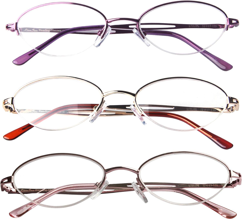 Liansan 3 Pairs Quality Ladies' Readers Metal Half Frame Reading Glasses for Women L731