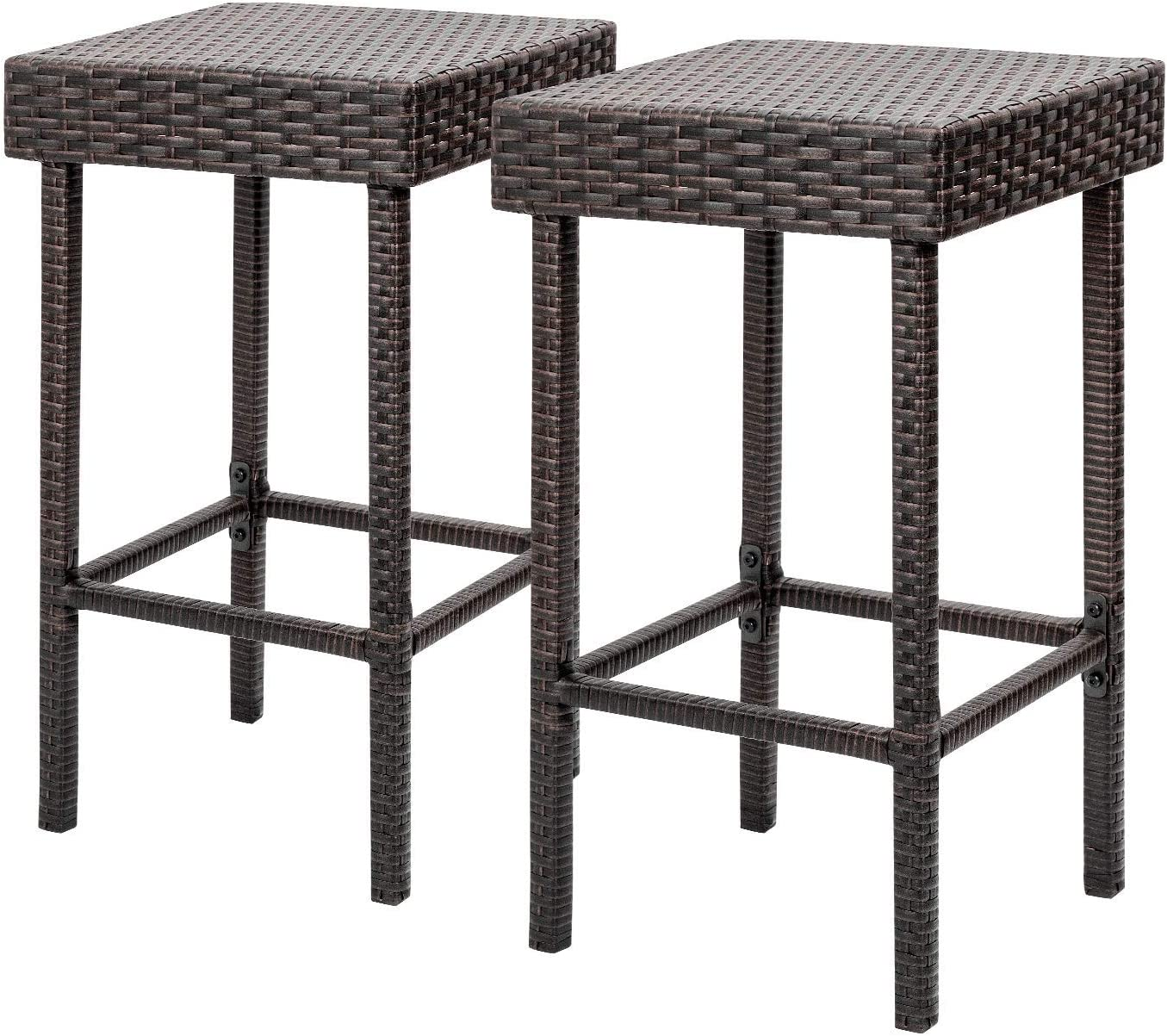 Flamaker Brown Wicker Barstool Outdoor Patio Furniture Bar Stools Set of 2 Height Bar Chairs High Backless Stools Rattan Dining Chairs
