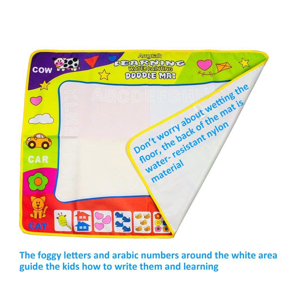Bespick Agua Dibujo Pintura Magia Doodle Comida Agua Doodle esteras mágicas 80*60CM Libro magico Agua, Pizarra Magica Agua del 2 bolígrafos para Niño: ...
