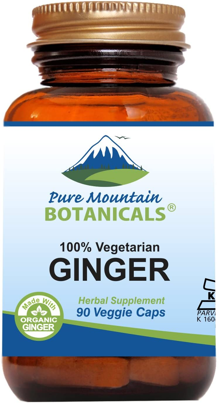 Ginger Capsules – 90 Kosher Vegan Caps with 1000mg Organic Ginger Root