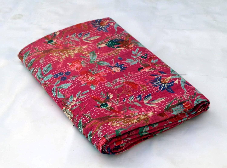 ピンク手縫いカンタキルト クイーンサイズ カンタブランケット インド綿 カンタベッドカバー ハンドメイド カンタスロー カラフルバードプリント ベッドスプレッド B07MZ9CQL2