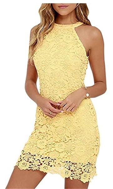 Vestido fiesta encaje amarillo