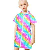 Basumee Cover Up for Girls Unicorn Hooded Swimsuit Cover Ups Long Sleeve Beach Dress Terry Swim Wraps