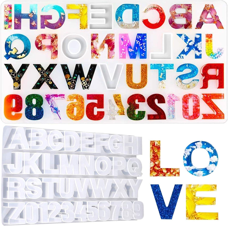 Molde silicona para resina, epoxi números y letras