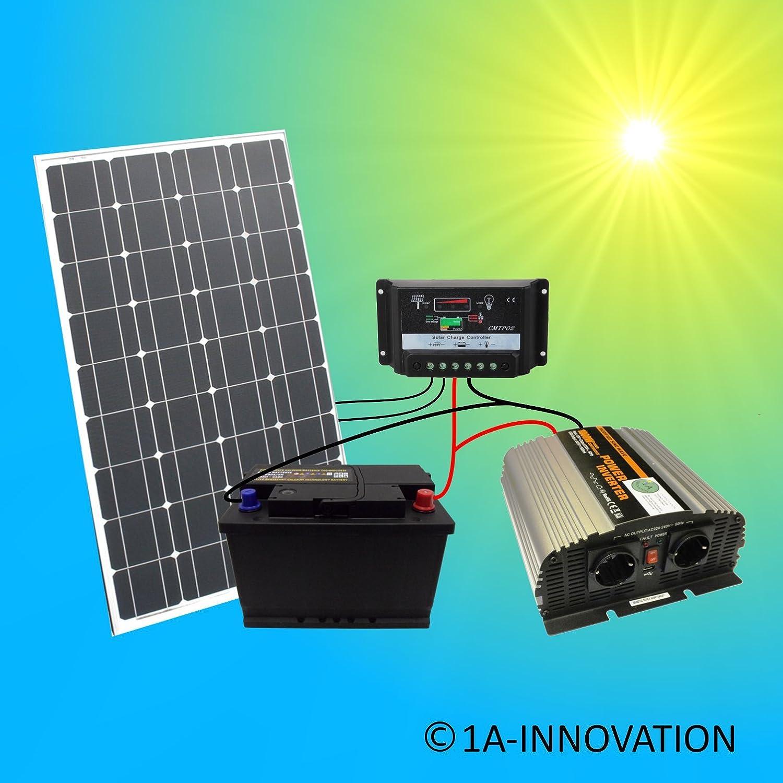 Komplette Solaranlage 230v TÜv 100w Solarmodul Spannungswandler Gartenhaus Watt Heimwerker Sonstige