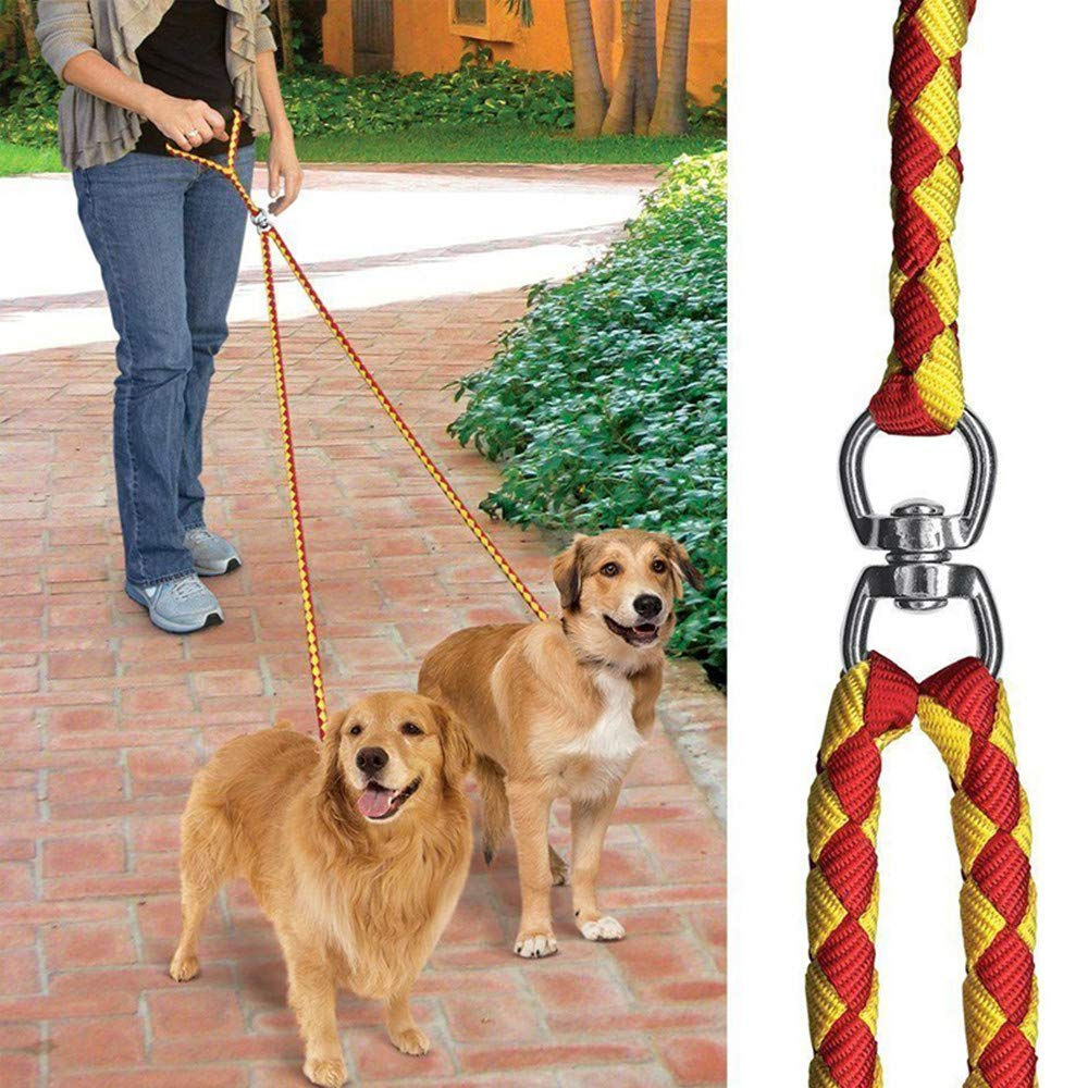 Red /& Black Adjustable No-Tangle Dog Leash Splitter For Walking And Traning 2 Two Dogs DWE Double Dog Lead