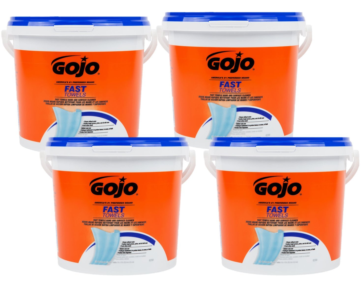 Amazon.com: Gojo Fast Wipes Hand Cleaning Towels 6298-04, 130 Wipe Bucket - 1 Count: Automotive
