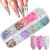 Holographic Nail Sequins Nail Flakes Glitter Design Colors Nail Sparkle Paillette 3D Nail Art Accessories Mixed Thin Shining Nail Art Supplies Acrylic Gel Polish Tips False Nails Decor 1 Boxes