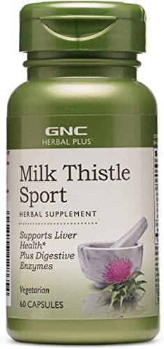 GNC Herbal Plus Milk Thistle Sport, 60 Capsules, Supports Liver Health