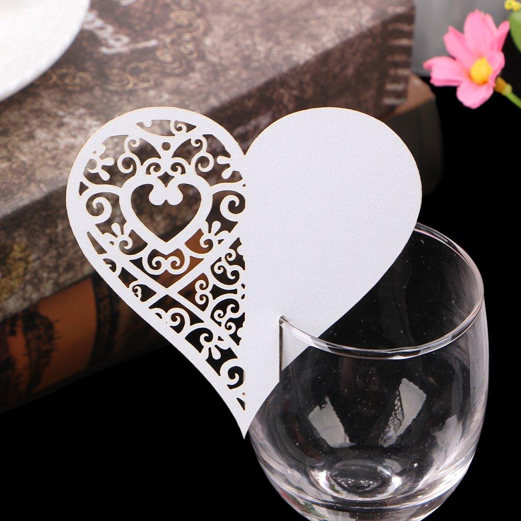 GROOMY 50 st/ück Herz Tabelle Mark Weinglas Name Tischkarte Hochzeit Gastgeschenke Decor-Blau