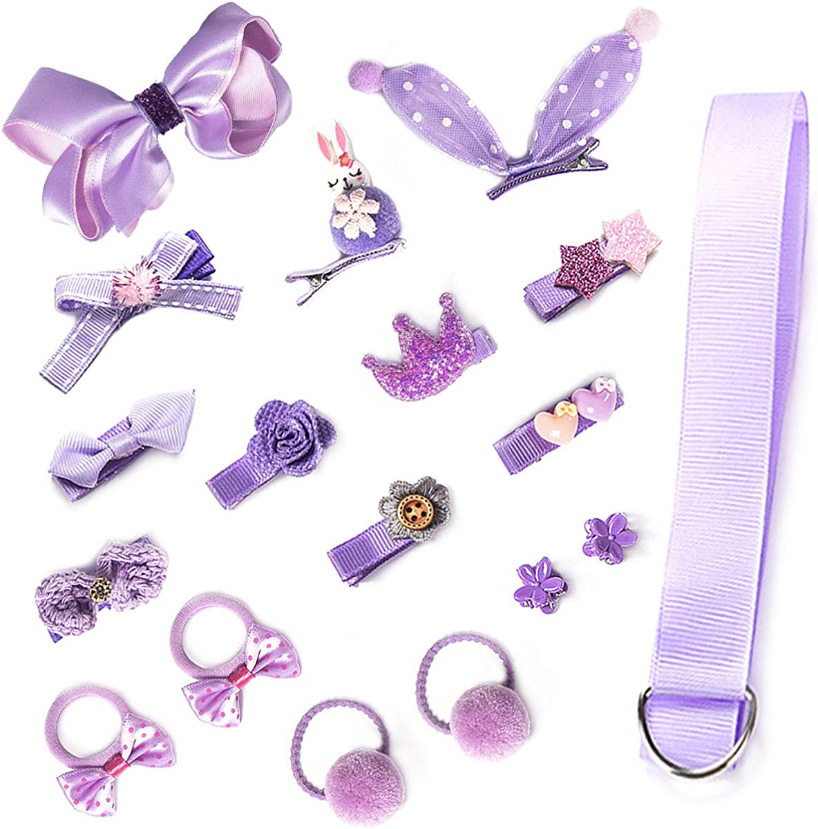 18-36PCS Baby Girl's Hair Accessories Clips Cute Hair Bows Baby Elastic Hair Ties Gift Box