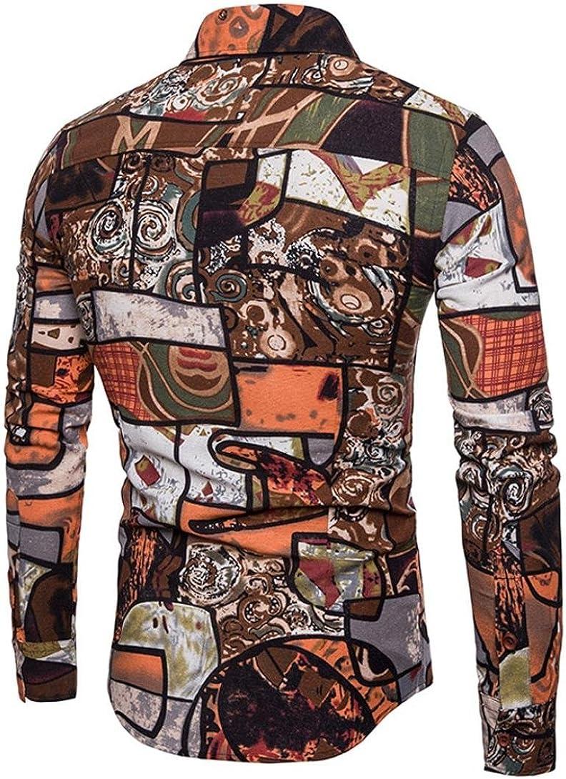 Malloom Mens Casual Business Slim Fit Chemise Imprimer Blouse Top Chemise /à Manches Longues Pantalon