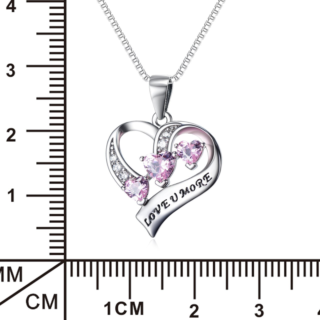YFN Engraved Love You More Sterling Silver Pink Jewelry Crystal Eternity Heart Necklace (Pink Heart) by YFN (Image #2)