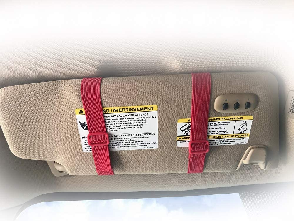 Document Holder for Vehicle Visor Orange Stretch Band and Orange Buckle Made in USA Perfect for Insurance /& Registration