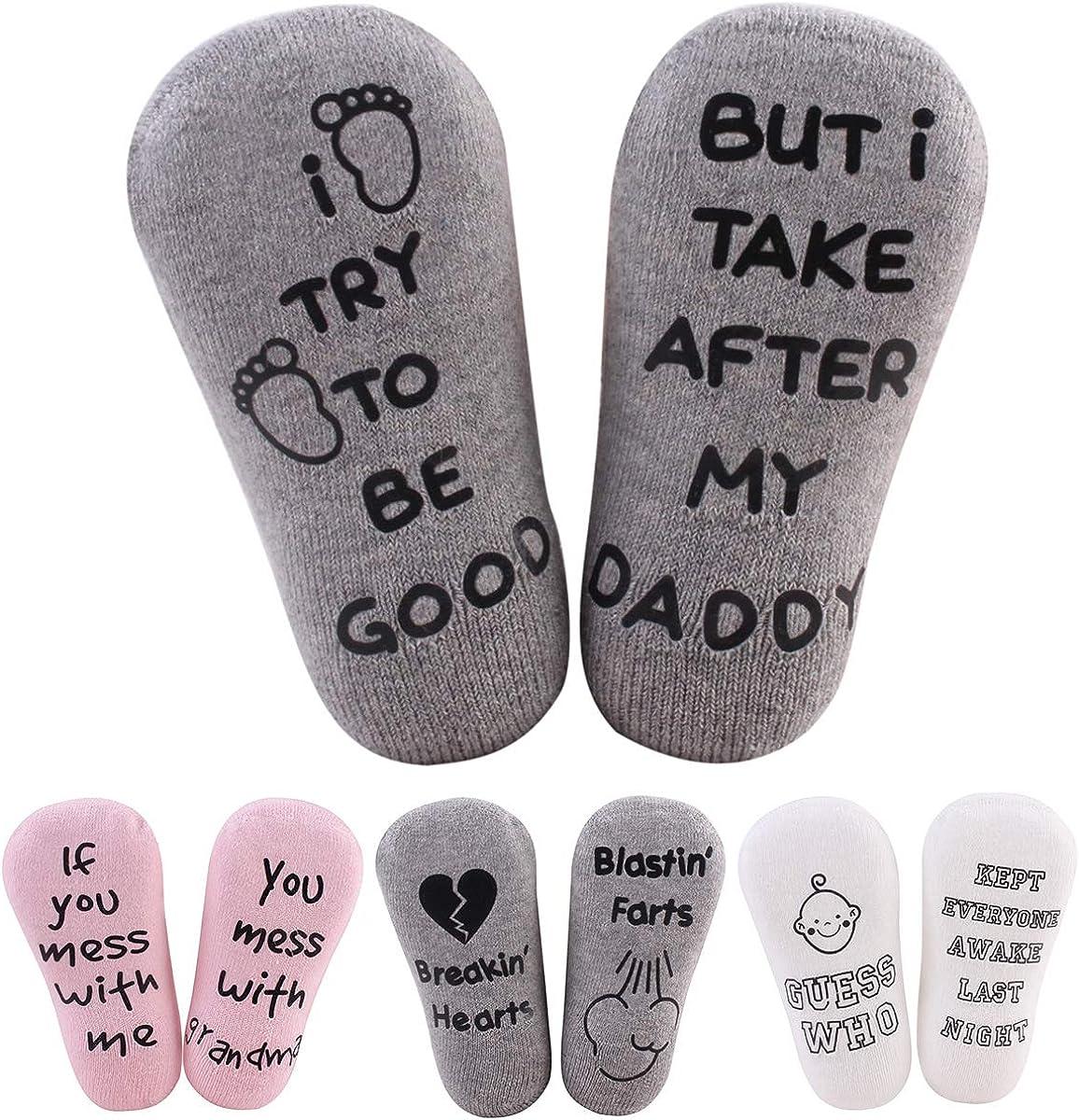DaMohony Juego 4 pares de calcetines para beb/és calcetines de algod/ón el/ástica transpirable peinado cotizaciones divertidas Regalo de Baby Shower bautizo para beb/és de 0-12 meses