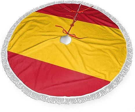 UKFaaa - Falda para árbol de Navidad, diseño de Bandera española, Tela, Negro, 36 Pulgadas: Amazon.es: Hogar