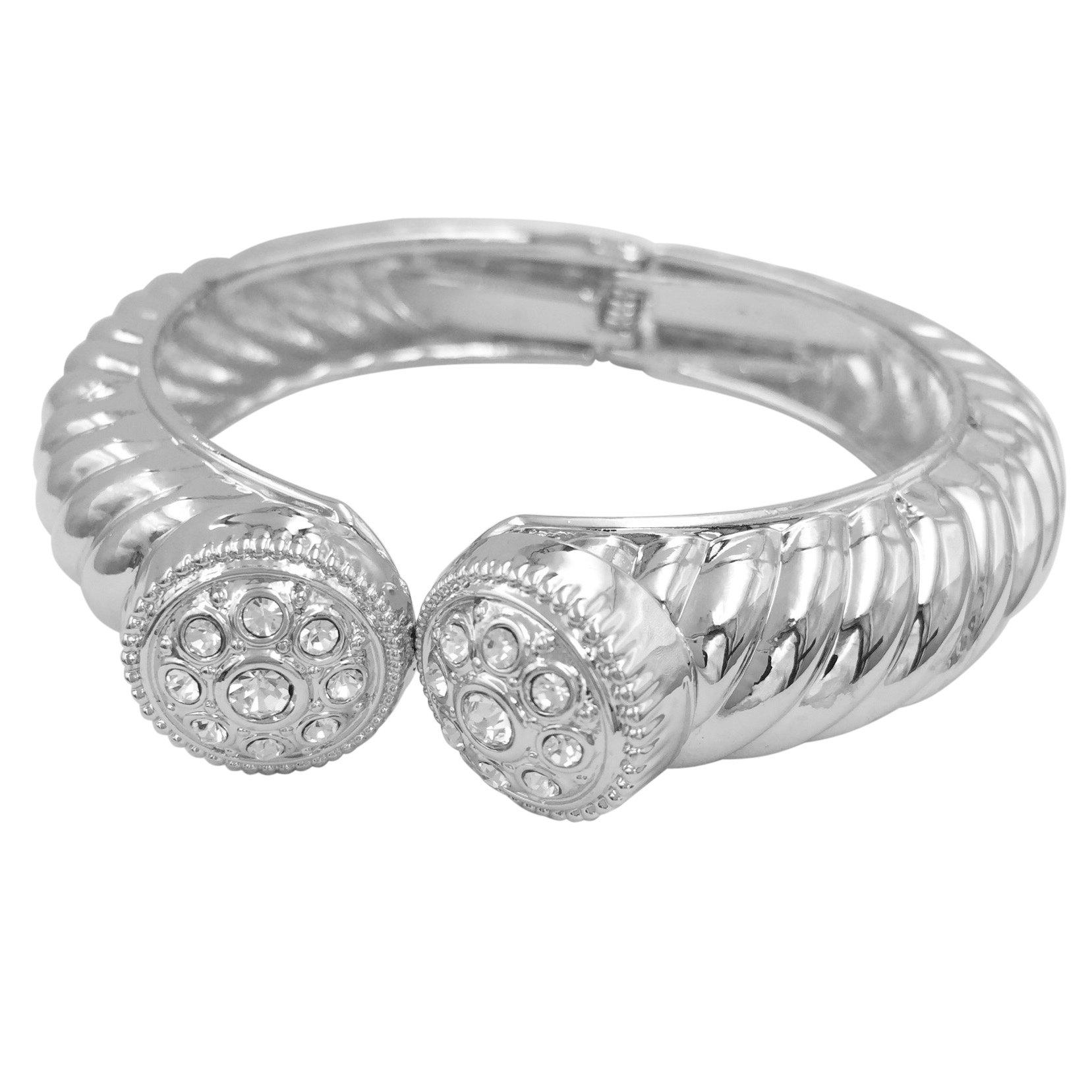 Gypsy Jewels Patterned Silver Tone Designer Look Hinged Bangle Bracelet (Round Top Rhinestone)