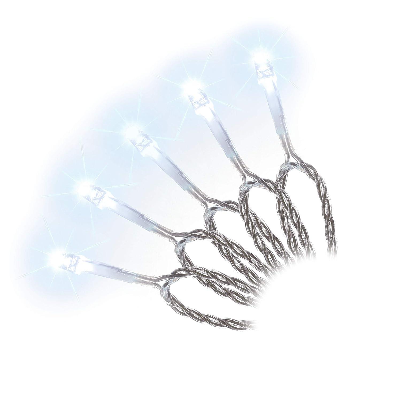 100er LED Lichterkette weiß Innen Außen transparentes Kabel Trafo ...