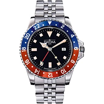 Davosa Swiss Made Quartz Quality Watch - Luxury GMT Dual Time Analog Dial Vintage Fashion Watch