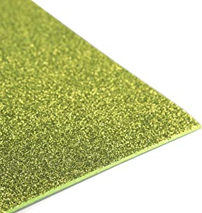 Glitter EVA Foam Sheet, 13-inch, 10-Pack (Apple Green)