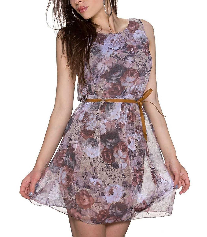 Chiffon Sommerkleid mit Blumen, Braun