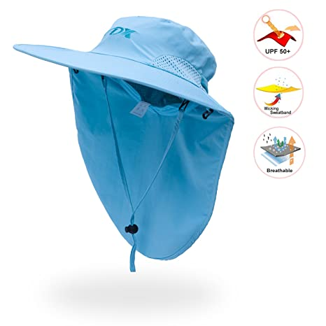 d7686cad6f5 Image Unavailable. Image not available for. Color  Anleolife Sky Blue Sun  Hat for Women SPF UV Protection Travel Biking Boating Hiking Beach Vacation