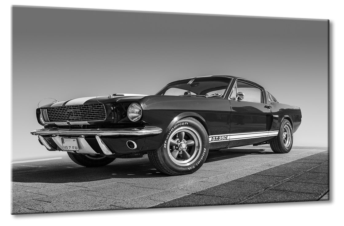 Fine-Art-Manufaktur Ford Mustang GT 350 Schwarzweiß Oldtimer Design Traumauto Kunst   Aus der Serie American Roadrunner   Farbe  schwarzweiss   Rubrik  Cars + Auto Bilder
