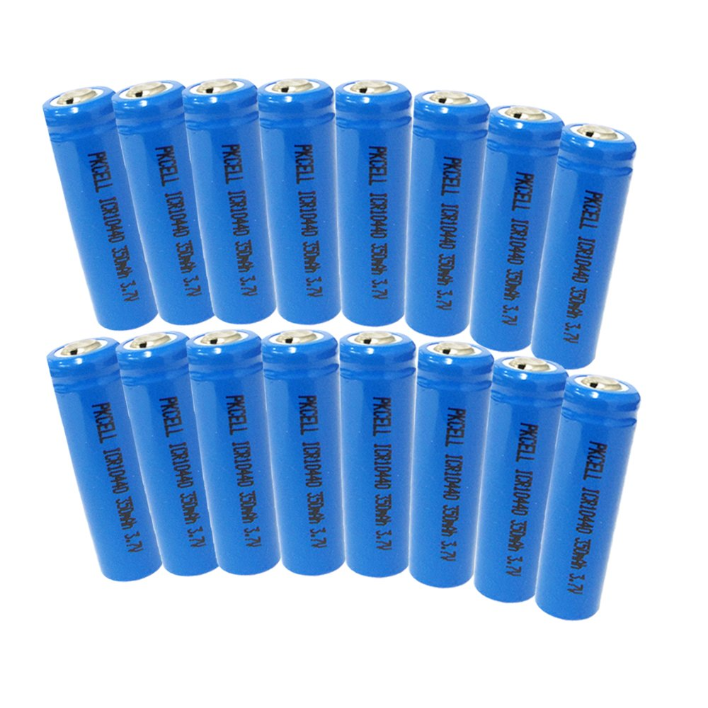 3.7V 350MAH AAA Button top ICR 10440 Lithium Ion Rechargeable Battery(16pcs) PKCELL
