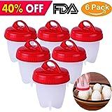 Egg Cooker, Hard Boiled Egg Maker, Egg Poacher, Egg Cups, FDA Approved, BPA Free, Non Stick Silicone Egg Cups, Pack of 6