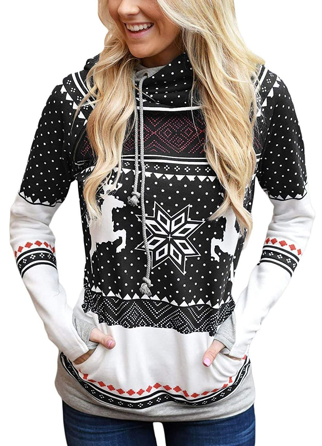Womens Gifts for Christmas Hoodies Snowflake Reindeer Print Jumpers Hooded Xmas Pullover Drawstring Sweatshirts Tops with Pocket