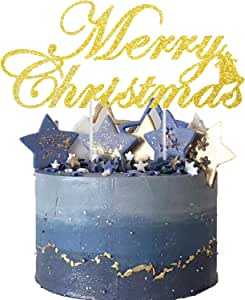 Tmflexe Handmade Merry Christmas Cake Topper Decoration Christmas Party Decorations Gold Sided Glitter Stock