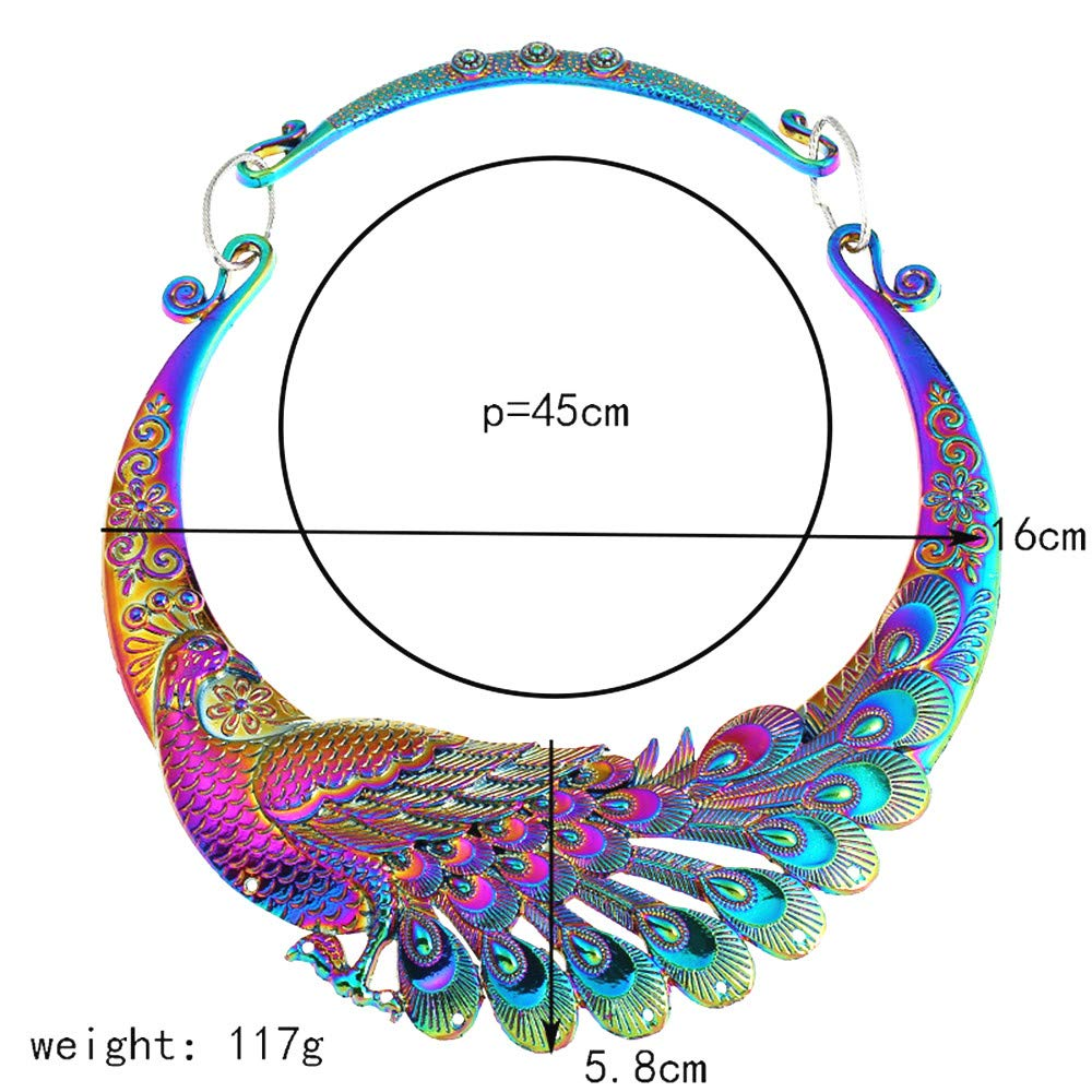 Han shan Women's Fashion Big-Name Costume Carving Colorful Retro Peacock Necklace Necklace Thick Collar Collar Collar Necklace (Peacock Necklace)