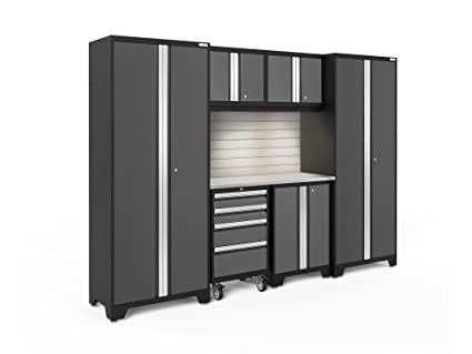 Beau NewAge Products 50420 Bold 3.0 Garage Storage Cabinet Set With Stainless  Steel Worktop (7