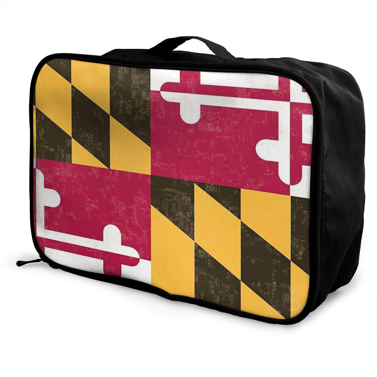 YueLJB Maryland State Flag Distressed Lightweight Large Capacity Portable Luggage Bag Travel Duffel Bag Storage Carry Luggage Duffle Tote Bag