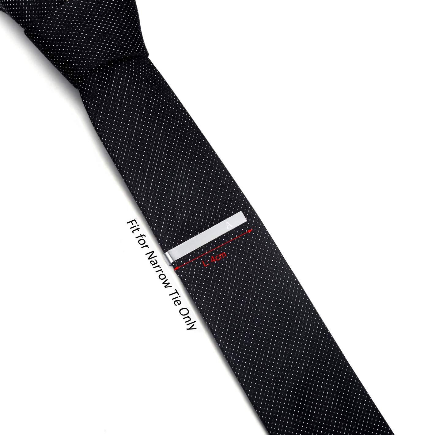 HONEY BEAR Skinny Clip Pasador de Corbata Acero Inoxidable,Boda Negocio Regalo,4cm,Cepillado Plata Carta Inicial Alfabeto para Hombre//Chicos Necktie