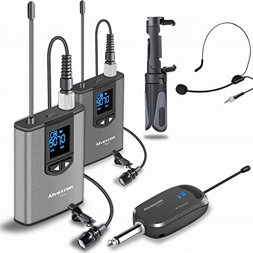 Alvoxcon USB lavalier Mic System for Android Podcasting Vocal Recording with Monitor Jack Vlog Conference Laptop YouTube Wireless Lapel Microphone for Computer Gaming PC Speaker